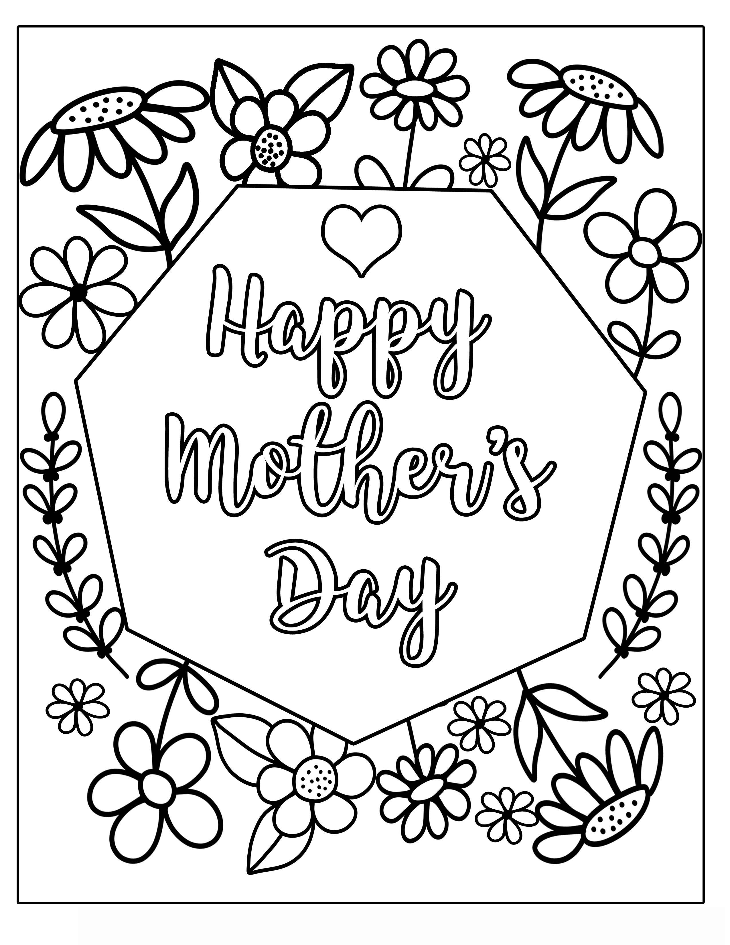 Happy MOTHERS DAY MOTHER'S DAY flower with vines and frills Clipart Coloring Pages for Kids Adults Art Activities Line Art