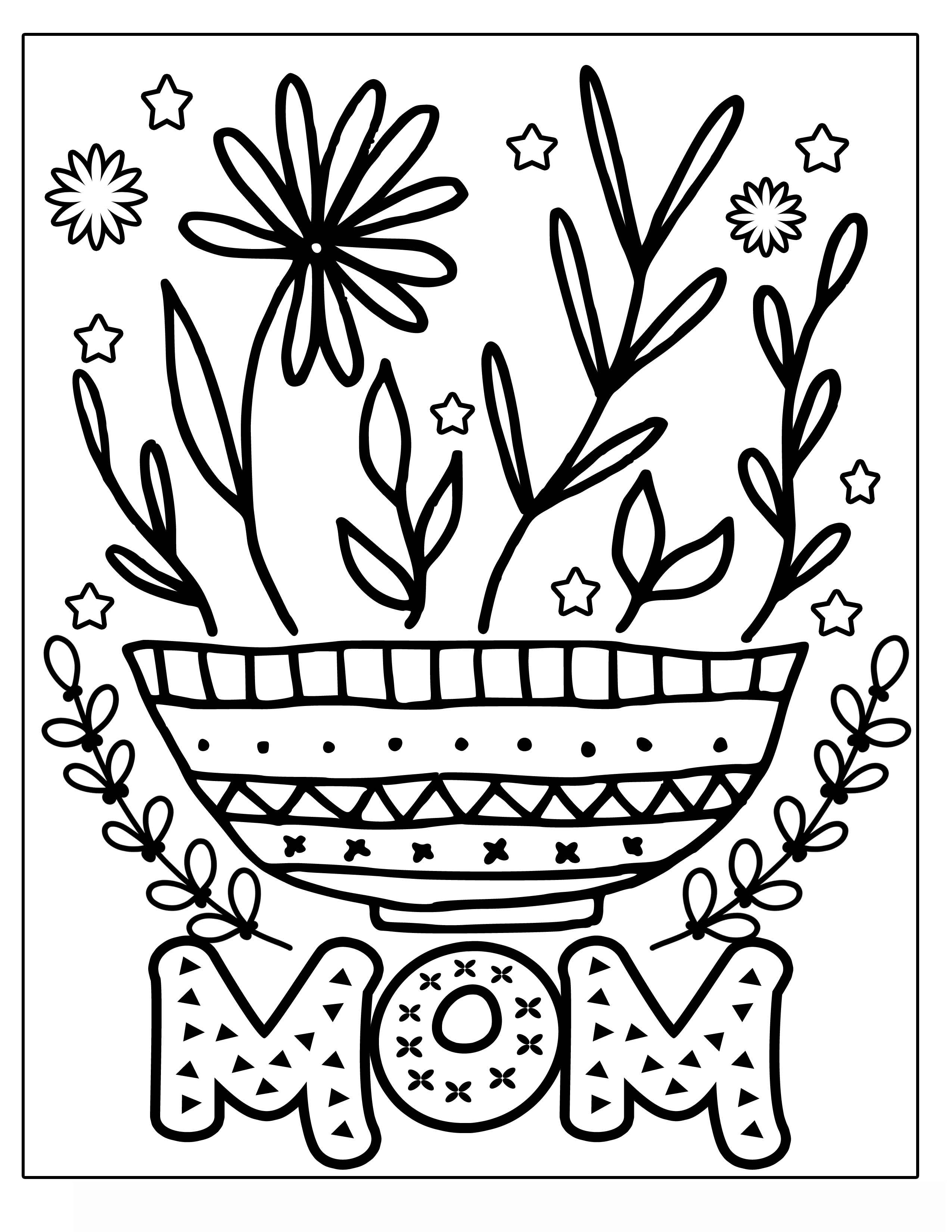 MOTHER'S DAY flower with vines and frills Clipart Coloring Pages for Kids Adults Art Activities Line Art