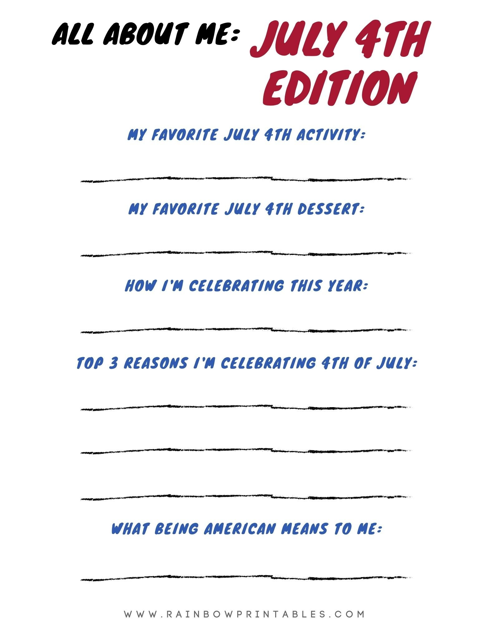 ALL About Me July 4th Independence Day Printable Worksheet for Kids Activity Elementary School Writing Practice