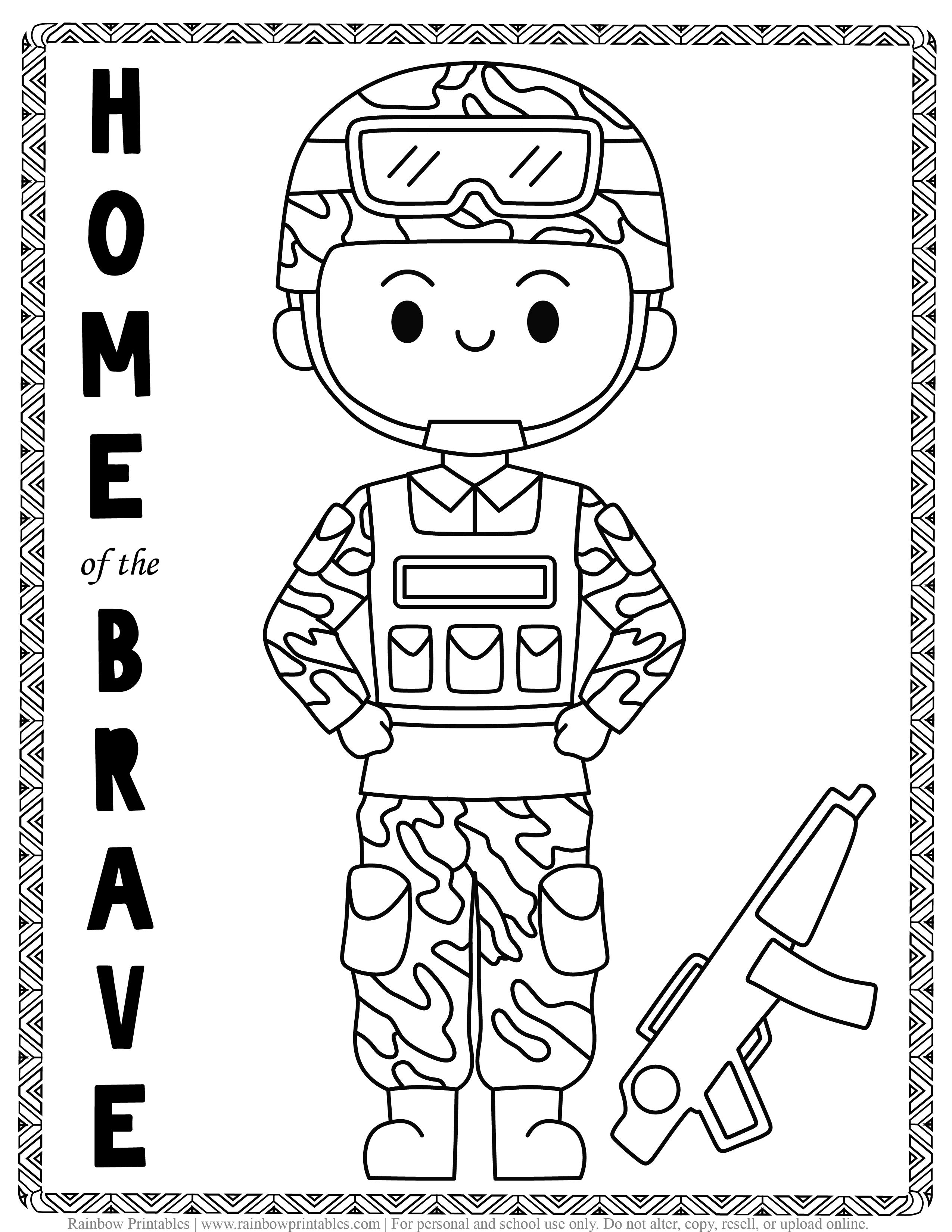 ARMY SOLDIER home of the BRAVE Kids Patriotic July 4th independence Day Printables for Children, Toddlers, America Coloring Pages, Activity for Preschool