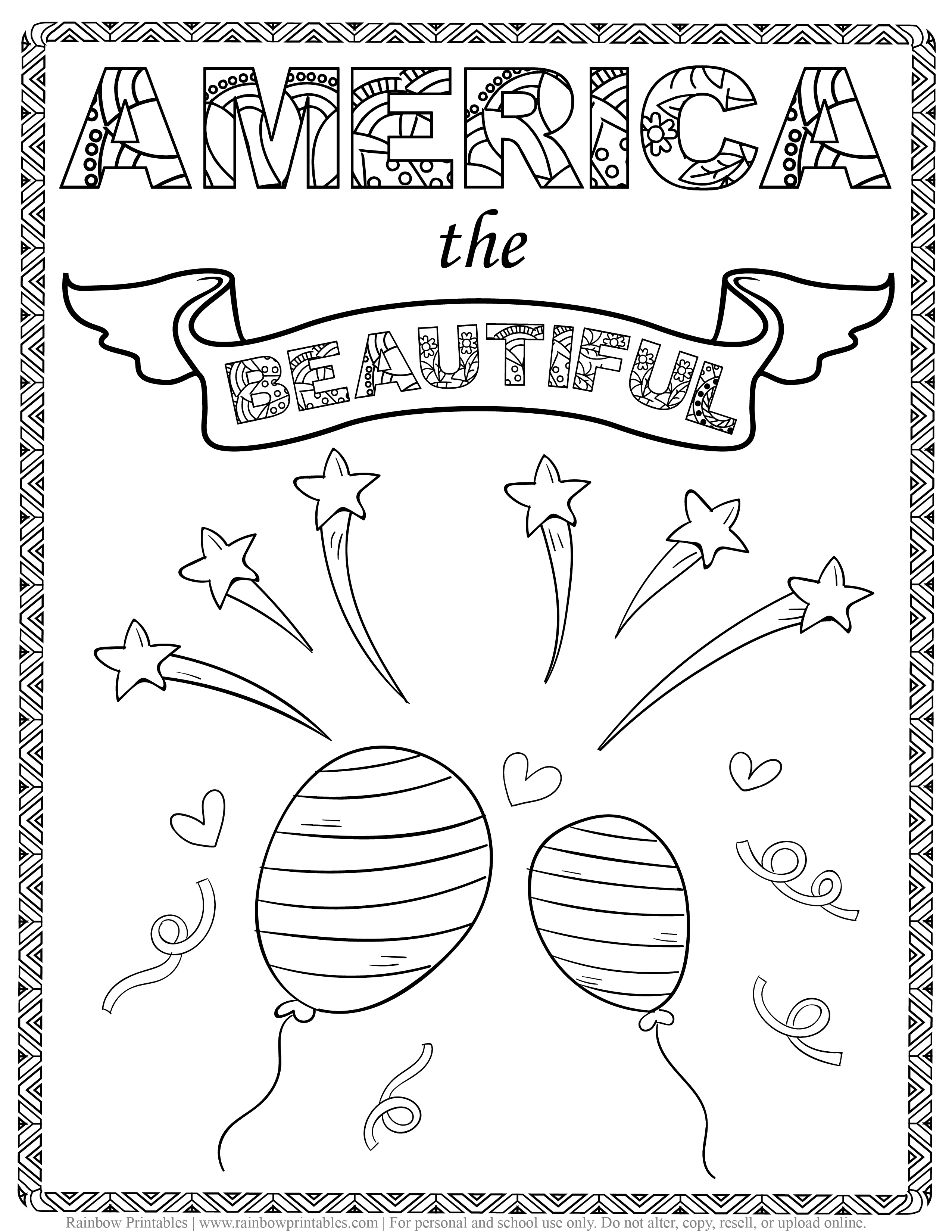 America The Beautiful Coloring Page, Kids Patriotic July 4th Independence Day Printables for Children, Toddlers, Activity for Preschool, Celebrating