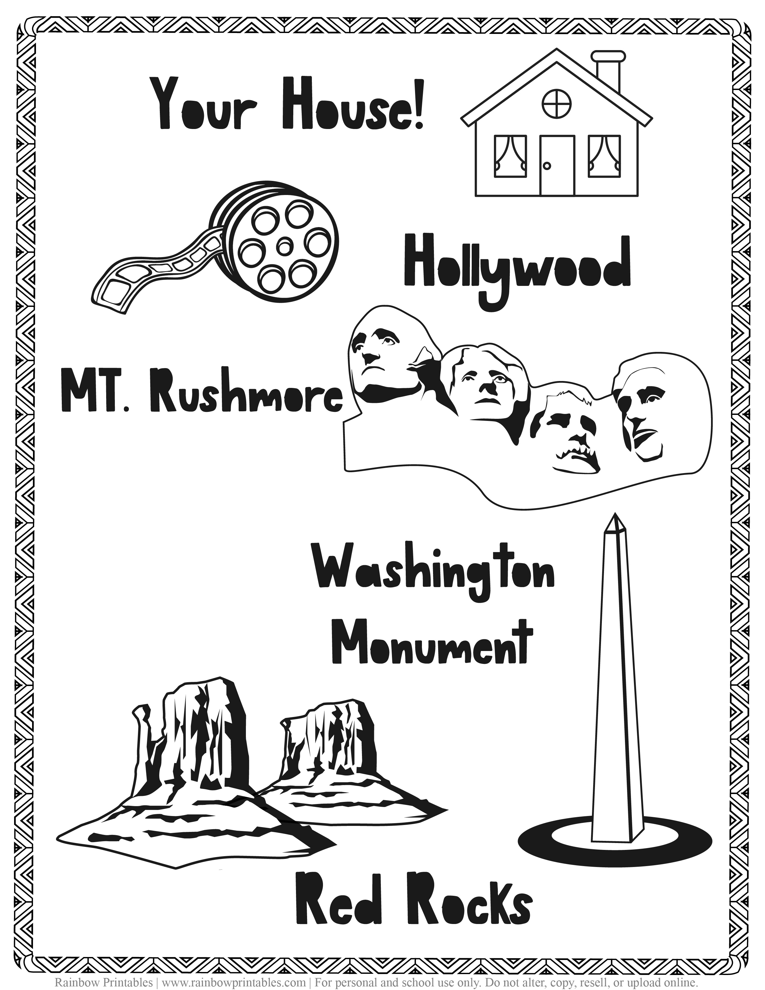 American Famous Landmarks Worksheet Geography Quiz Kids Patriotic July 4th Independence Day Printables for Children, Toddlers, America Coloring Pages, Activity (2)