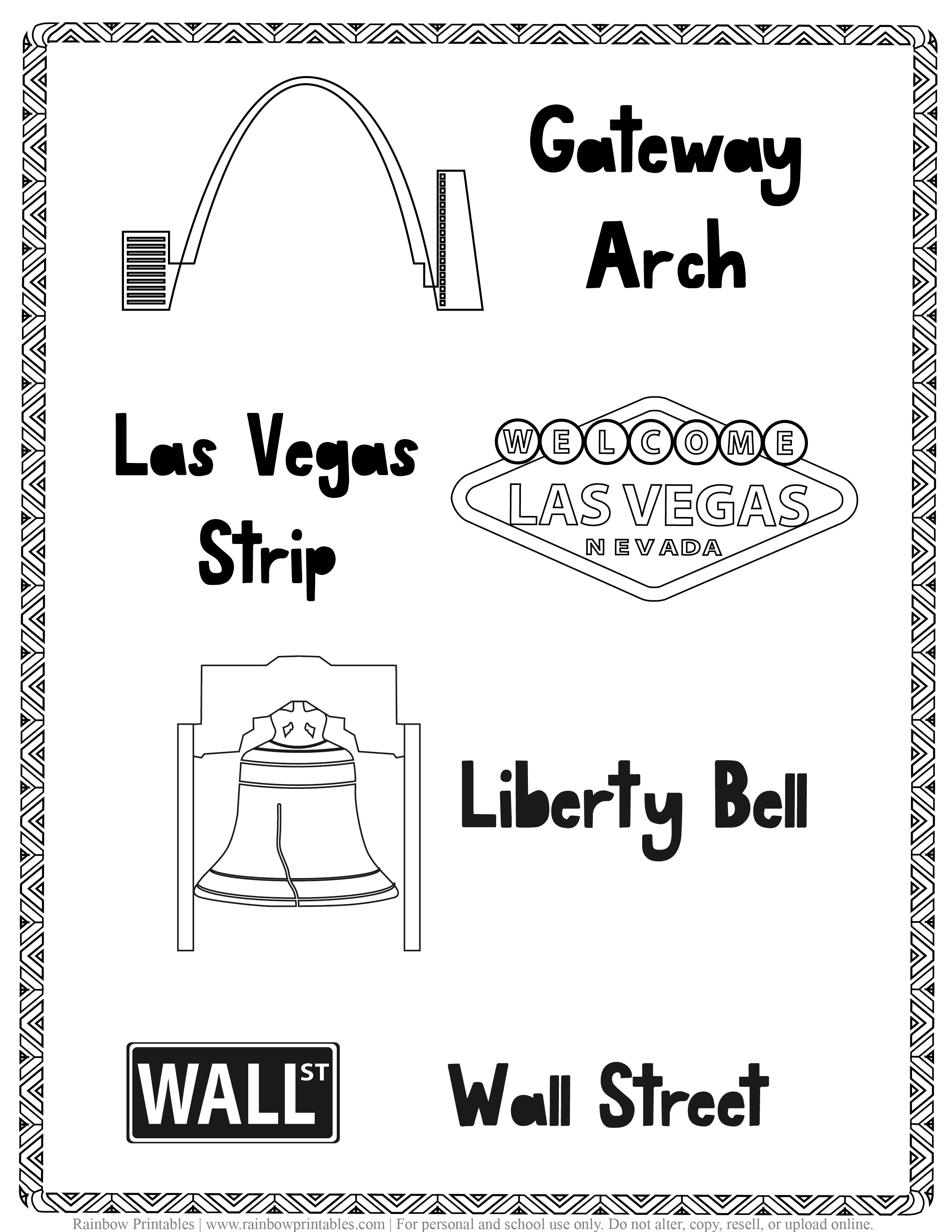 American Famous Landmarks Worksheet Geography Quiz Kids Patriotic July 4th Independence Day Printables for Children, Toddlers, America Coloring Pages, Activity (3)