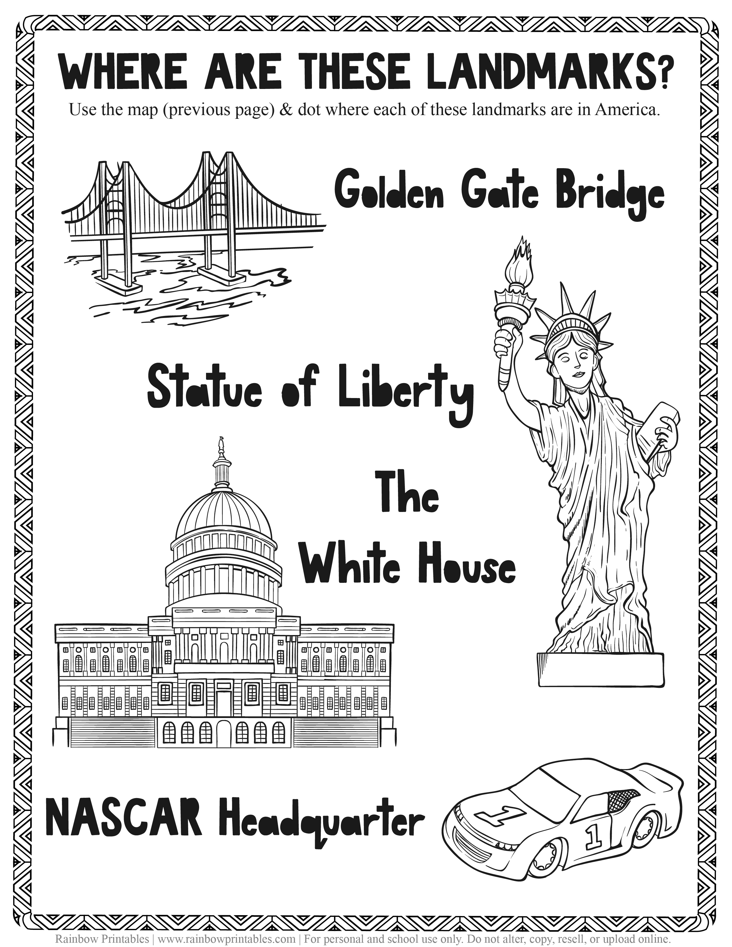 American Famous Landmarks Worksheet Geography Quiz Kids Patriotic July 4th independence Day Printables for Children, Toddlers, America Coloring Pages, Activity