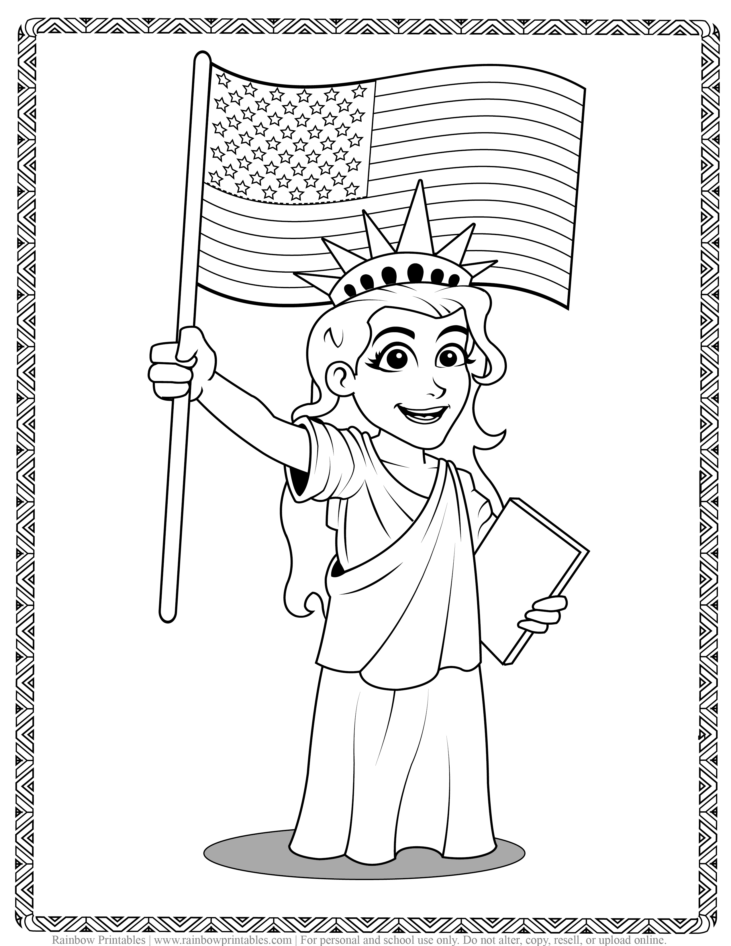 American Landmarks Lady Liberty Holding Flag Kids Patriotic July 4th independence Day Printables for Children, Toddlers, Coloring Pages, Activity for Preschool