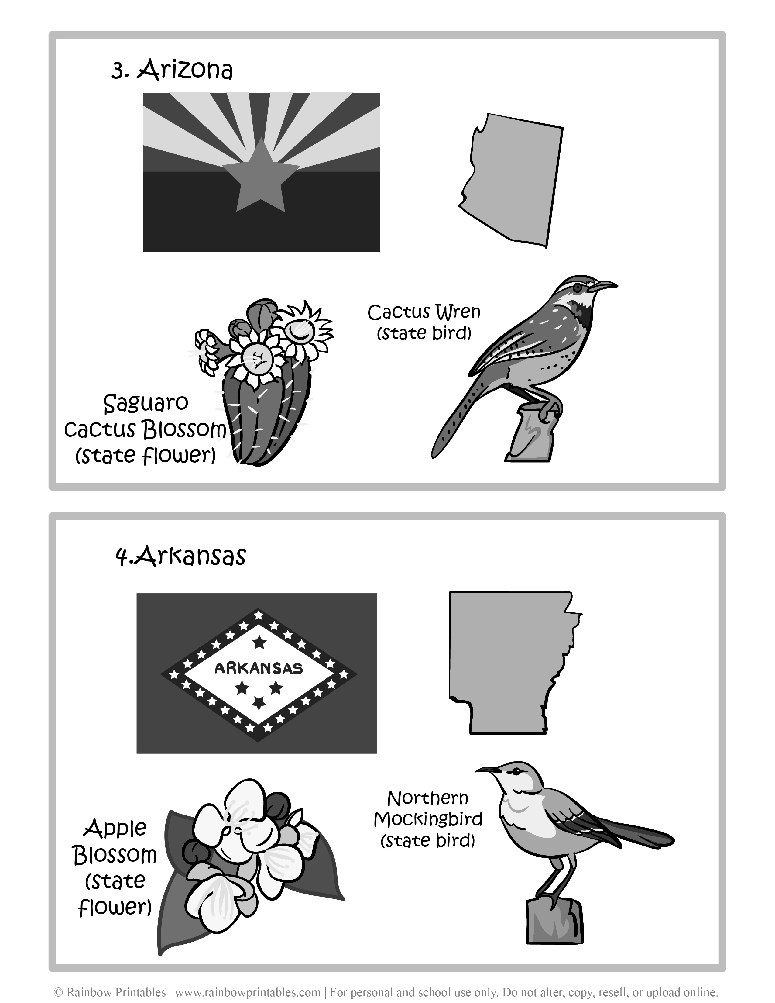 Arizona, Arkansas, 50 US State Flag, State Bird, State Flower, United States of America - American States Geography Worksheet Class Lesson Printables Flashcards Black White