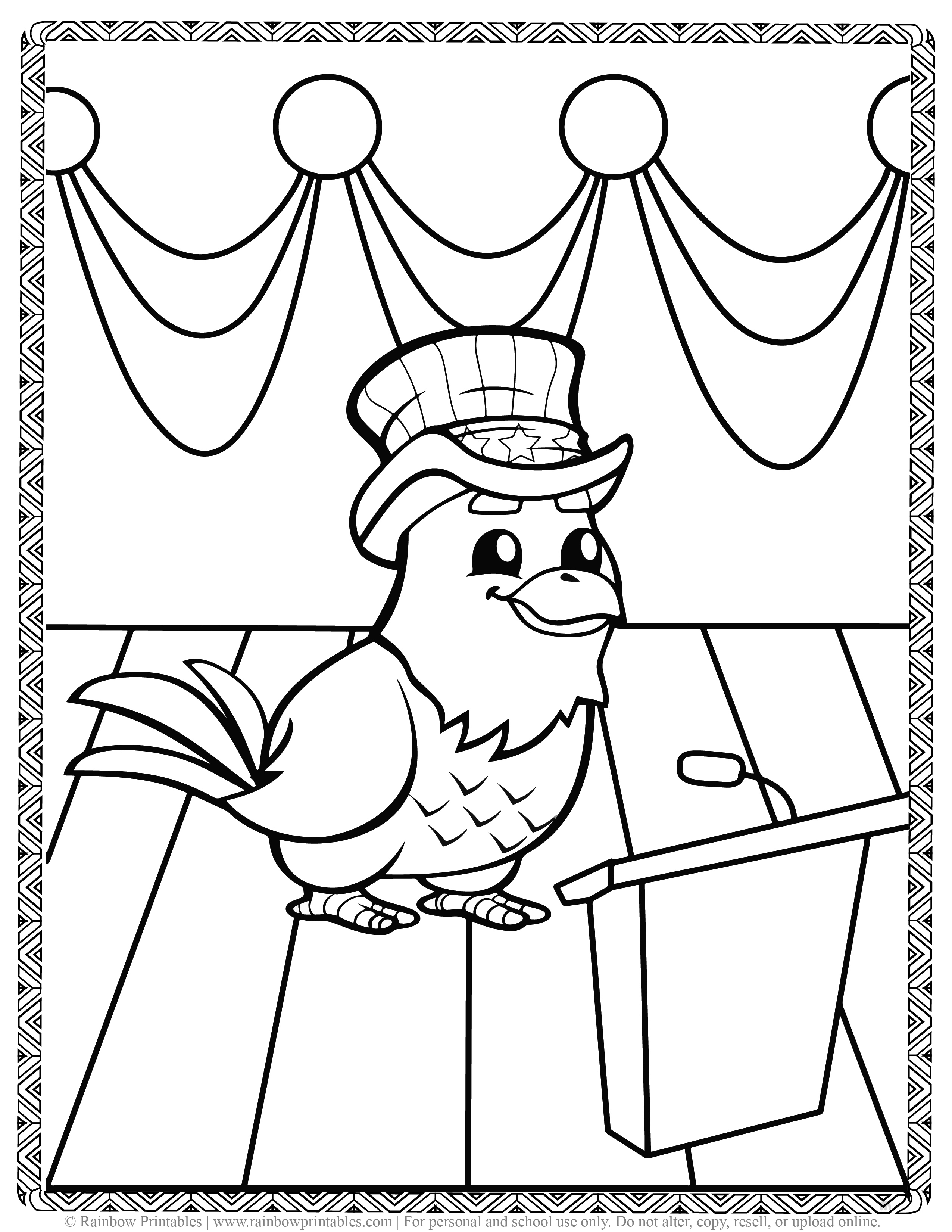 Cute Bald Eagle in Top Hat President Patriotic July 4th independence day Printables for Children, Toddlers, America Coloring Pages, Activity for Preschool, Freedom