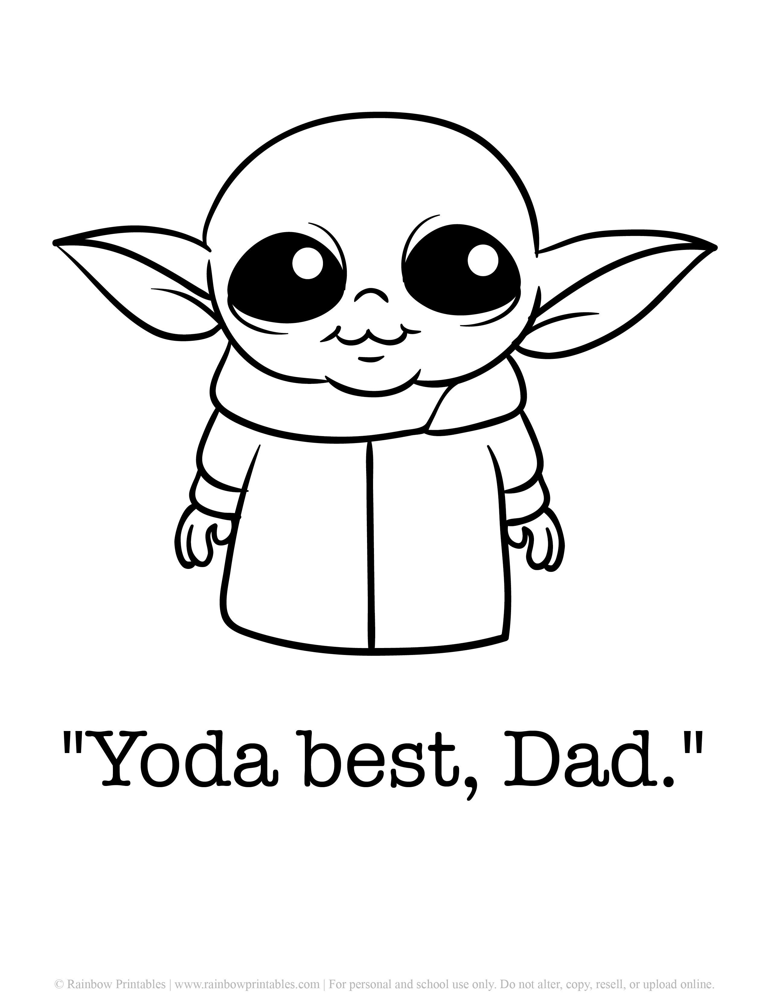 Cute Yoda Pun & Father's Day Punny Cards Coloring Pages Baby Yoda Star Wars Pop Culture Happy Father's Day Alien Printable