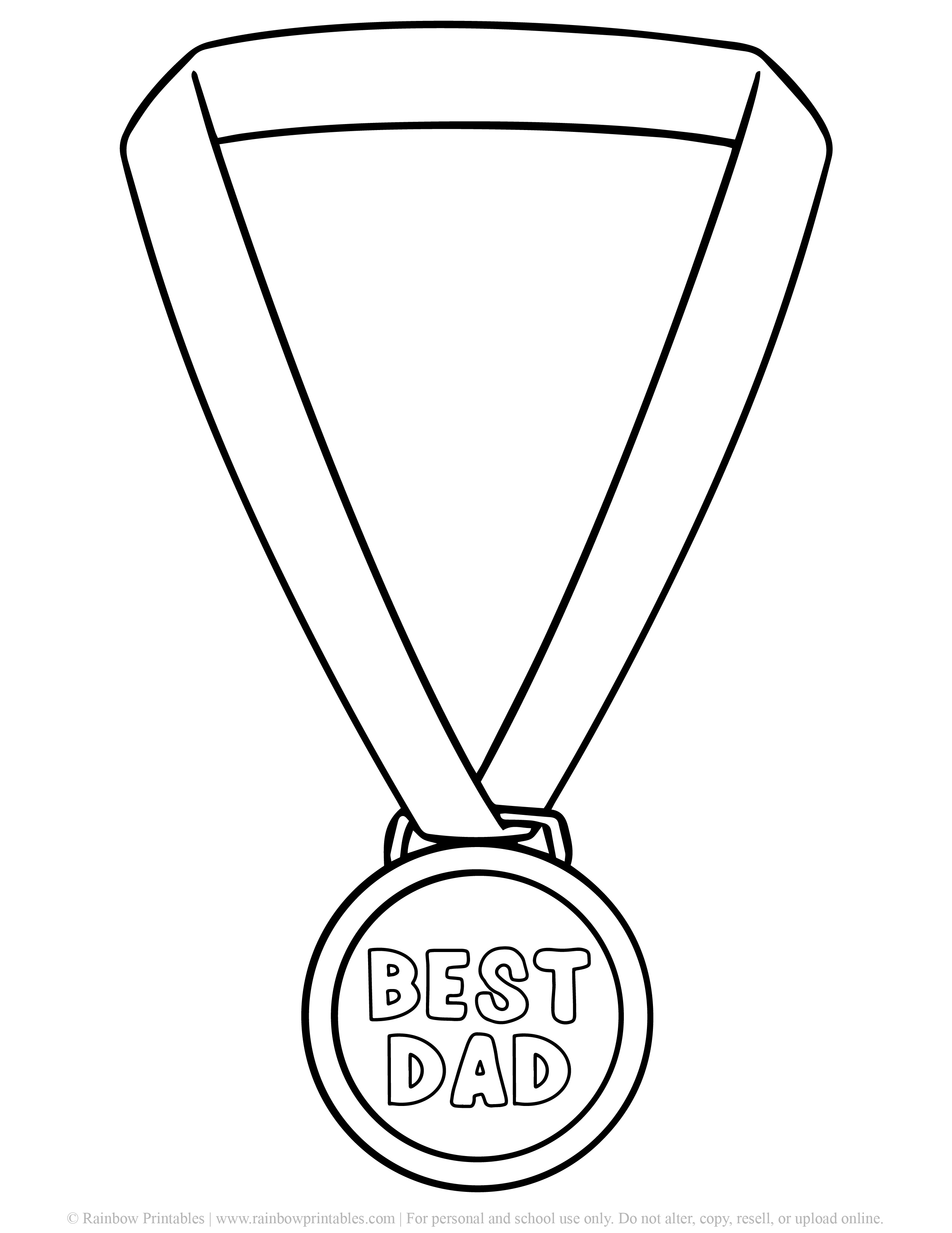 Father's Day Punny Cards & Coloring Pages BEST Dad Gold Metal Happy Father's Day First Place Printable BW
