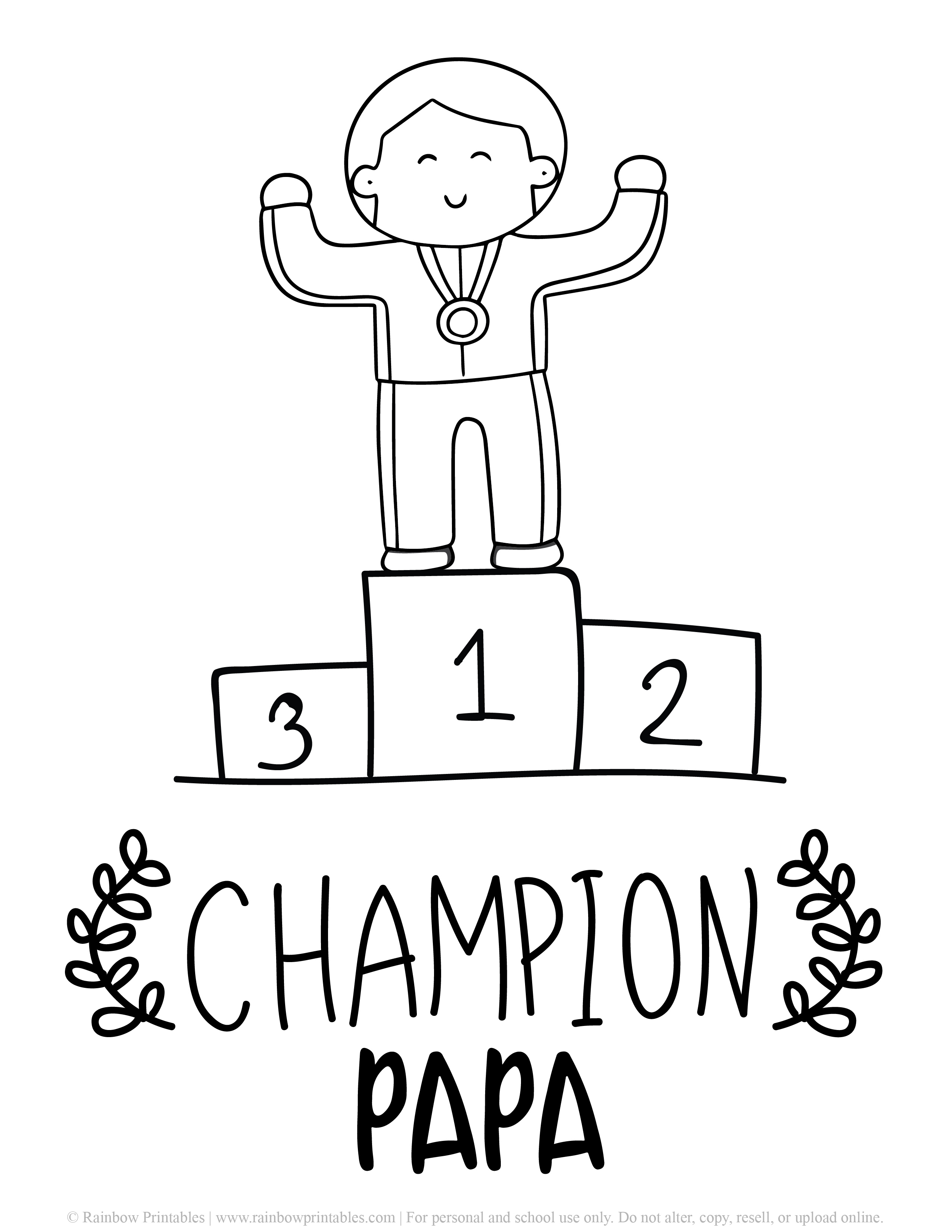 Father's Day Punny Cards & Coloring Pages Champion Papa Printable BW Racer First Place Metal Olympian Winning