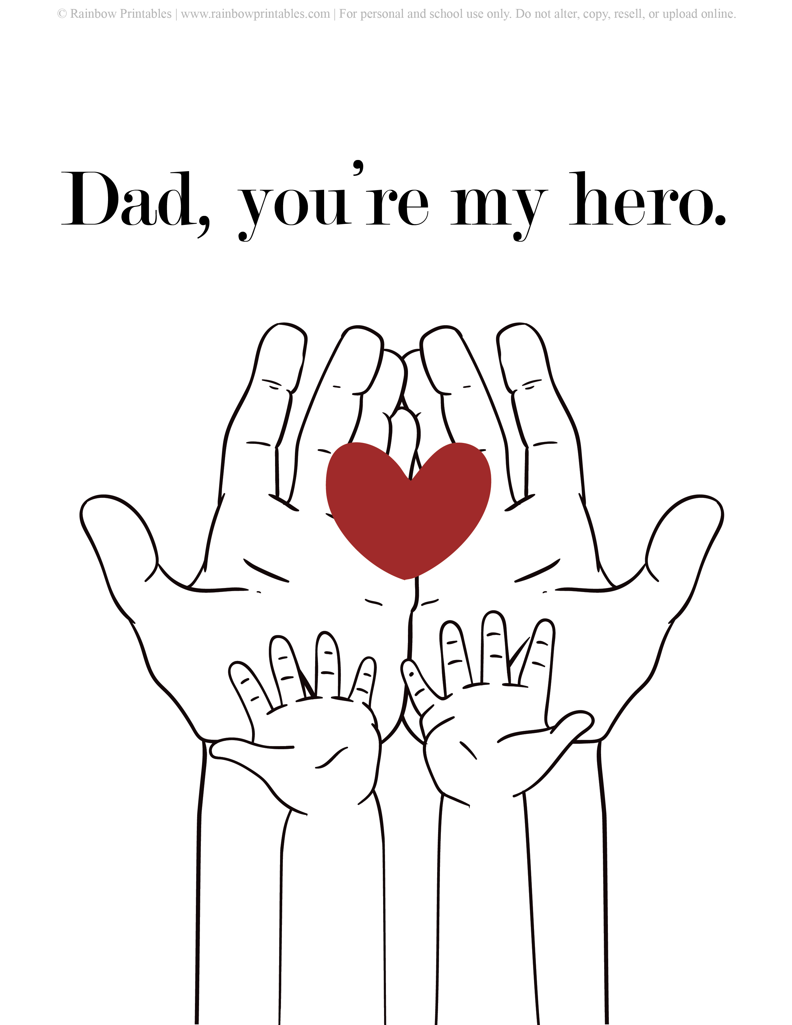Father's Day Punny Cards & Coloring Pages Daddy is My Hero Hero Father's Day Heart in Hand to Hand Printable