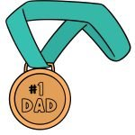 Father's Day Punny Cards & Coloring Pages Number 1 Dad Gold Metal Happy Father's Day First Place Printable