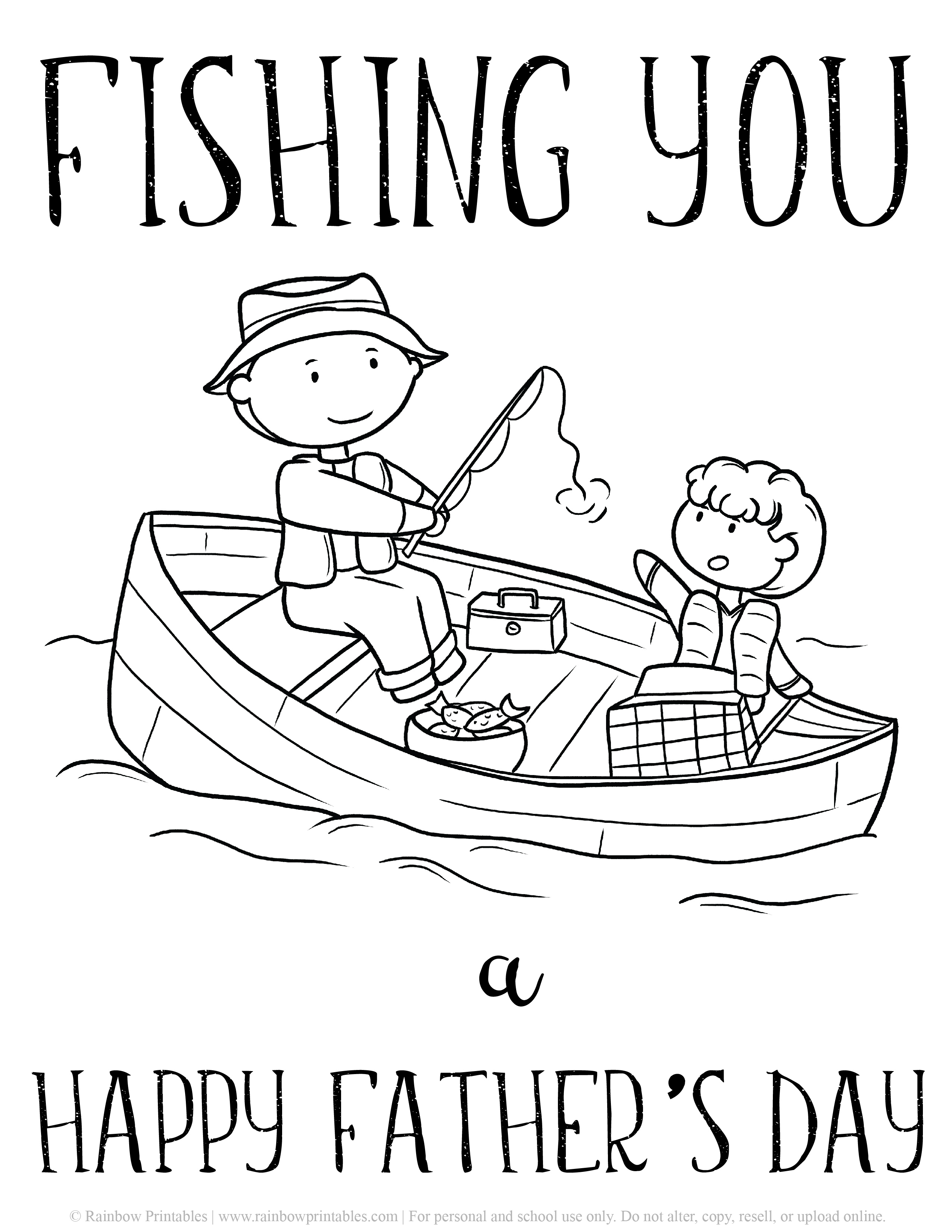 Fishing You a Happy Father's Day Boat Father Son Fisher Boat happy fathers day dad appreciation coloring page Father's Day Punny Greeting Card Clipart Printable