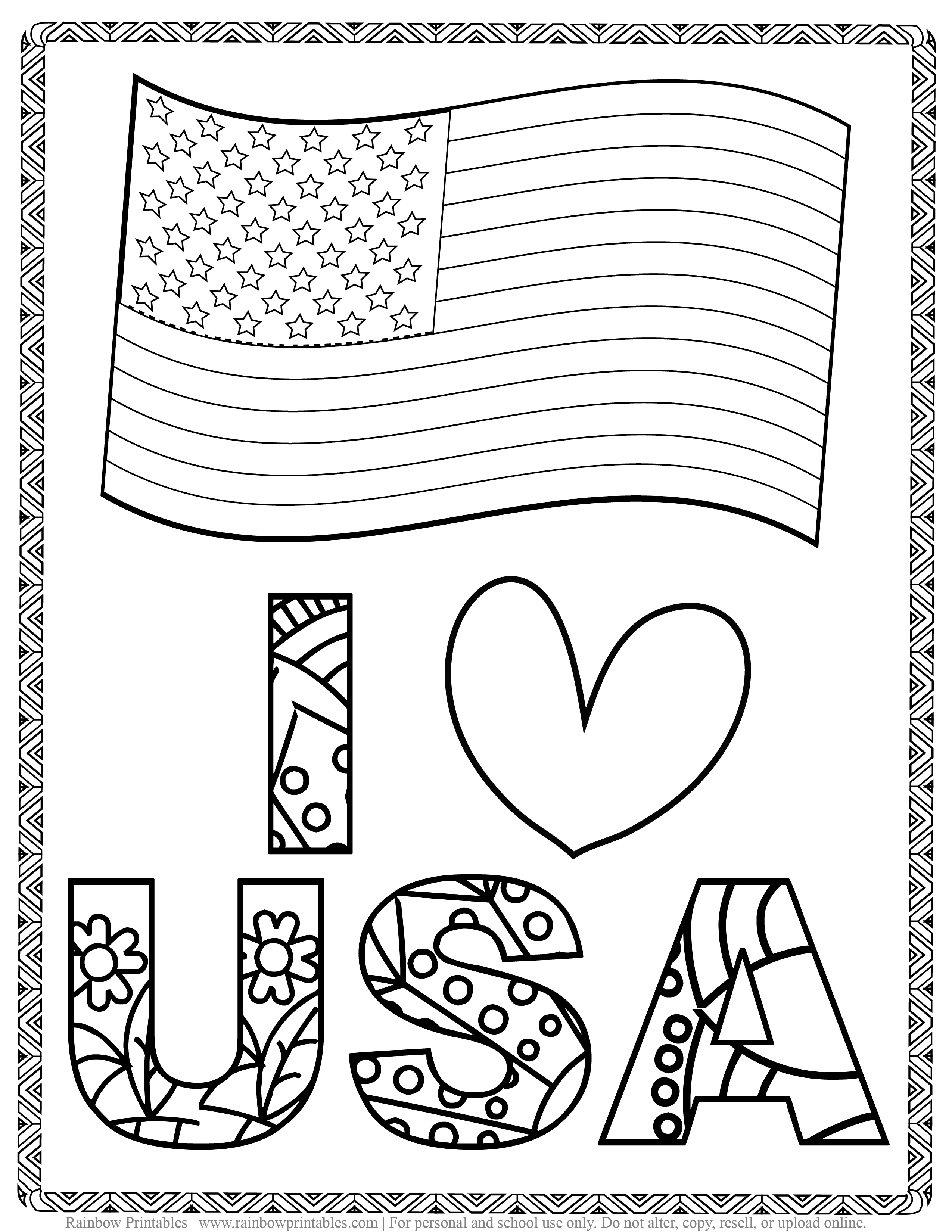 I HEART USA + flag Kids Patriotic July 4th Independence Day Printables for Children, Toddlers, America Coloring Pages, Activity for Preschool, Freedom