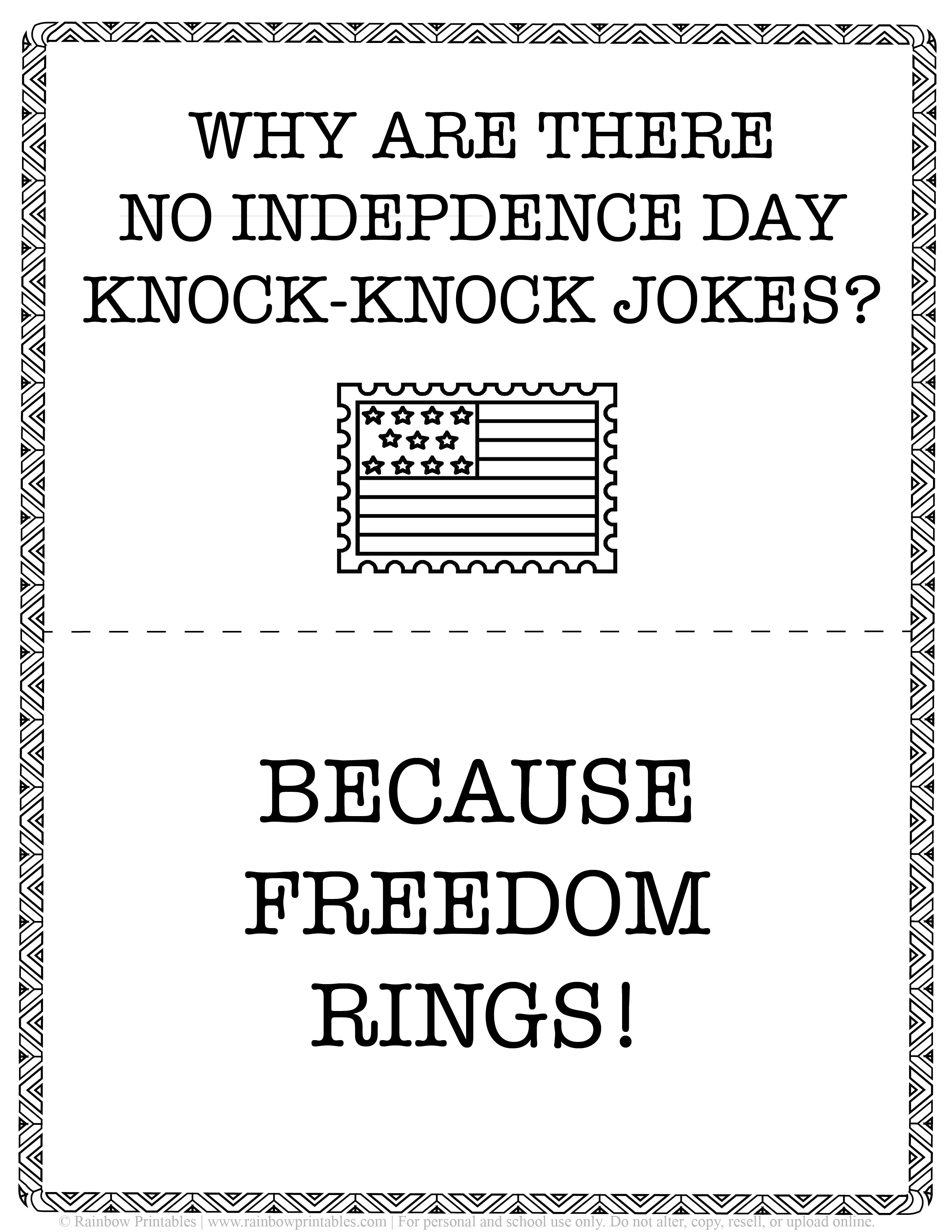 Kids Patriotic July 4th independence Day America Printables Eagle Puns Jokes for Children, Toddlers, Coloring, Activity for Preschool Freedom Rings Jokes