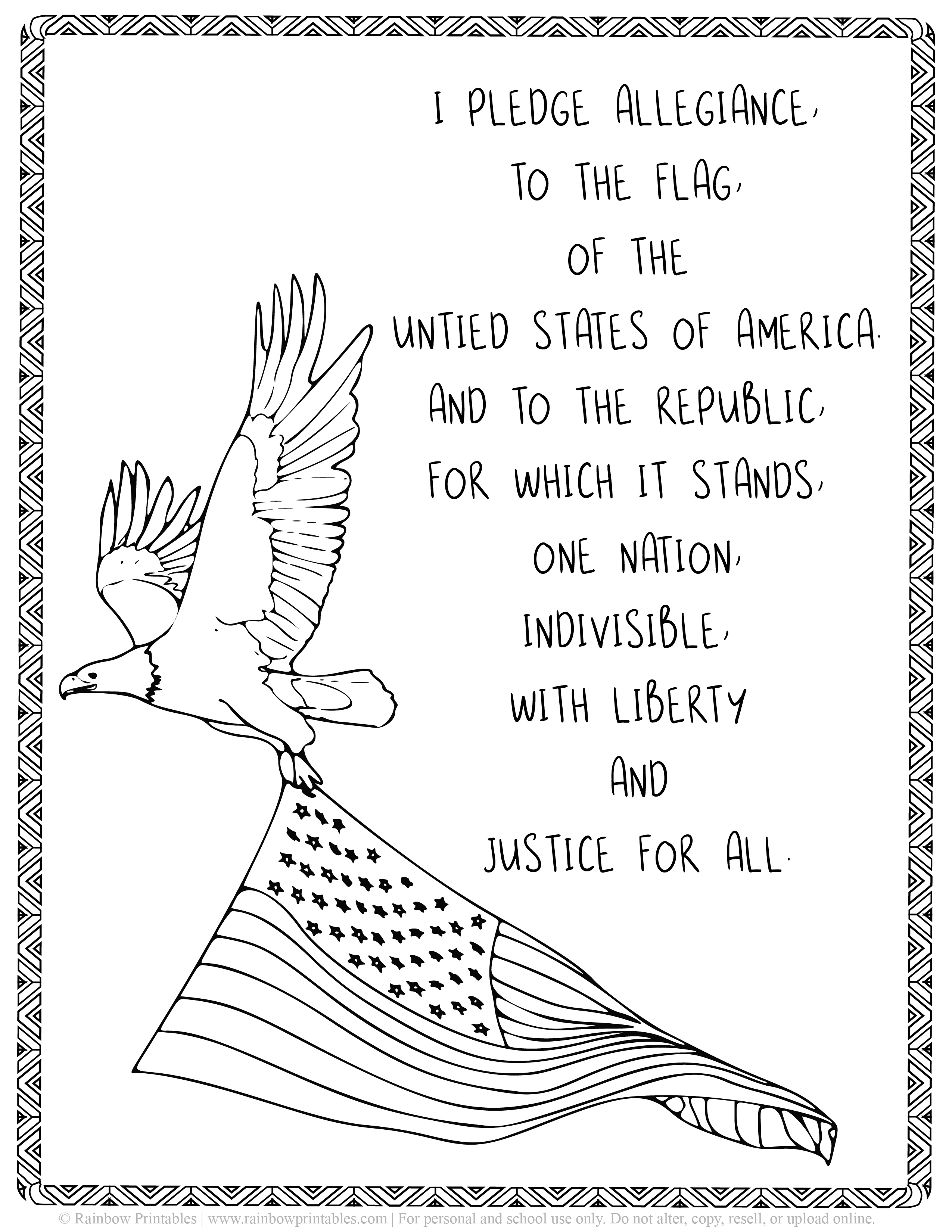 Kids Patriotic July 4th independence Day America Printables Eagle US National Anthem Print Out Black White Coloring Page