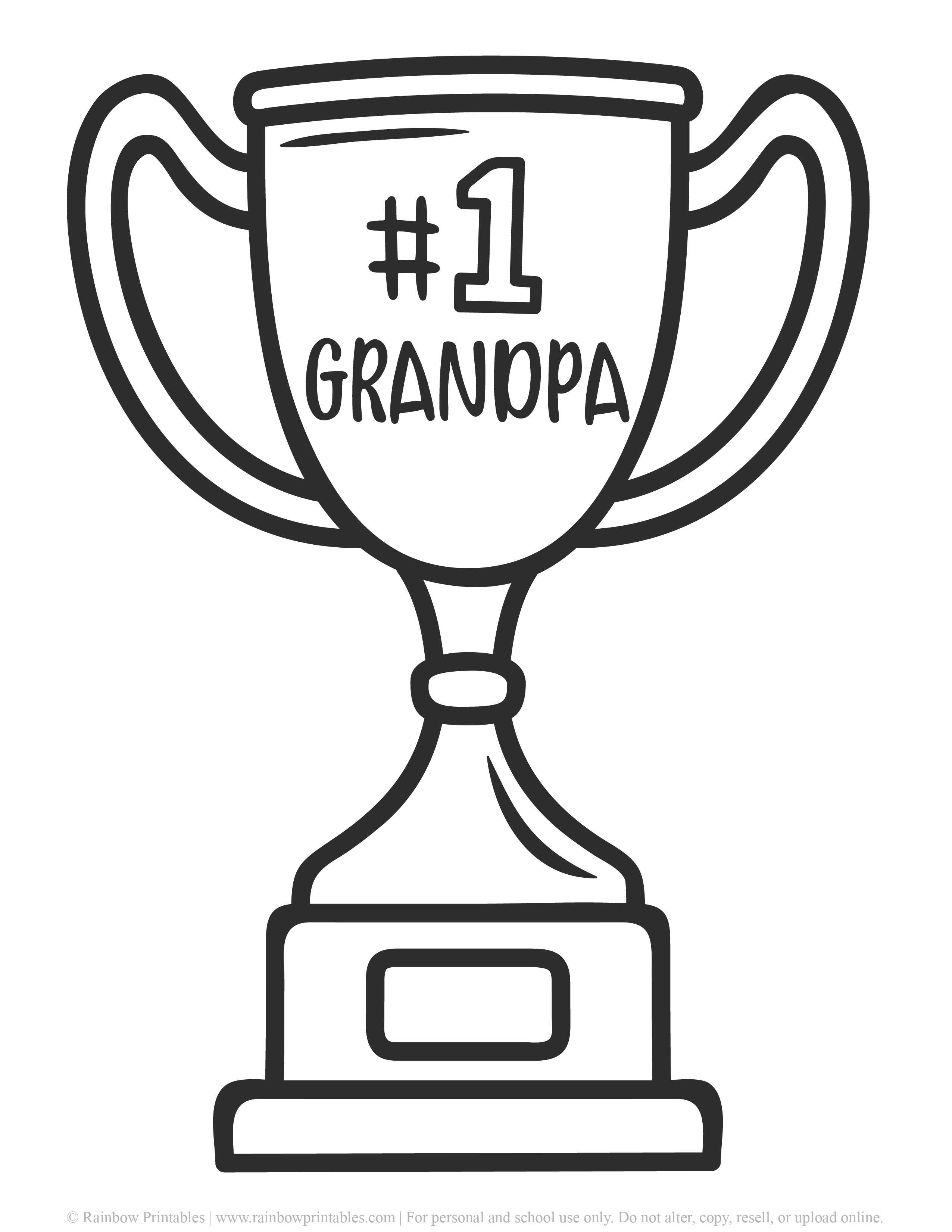 Number one grandpa trophy happy fathers day grandfather appreciation coloring page Father's Day Punny Greeting Card Clipart Printable