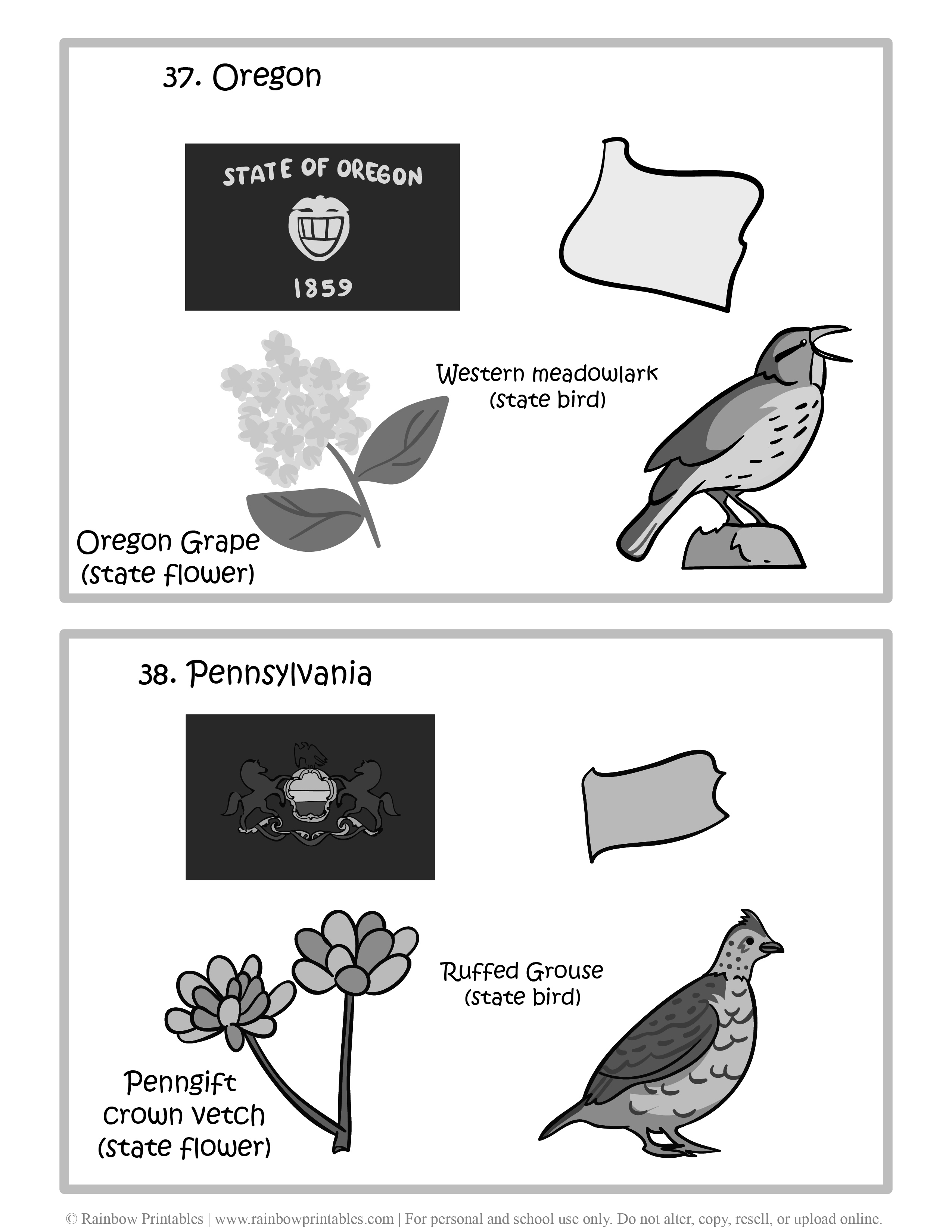 Oregon, Pennsylvania, 50 US State Flag, State Bird, State Flower, United States of America - American States Geography Worksheet Class Lesson Printables Flashcards Black White