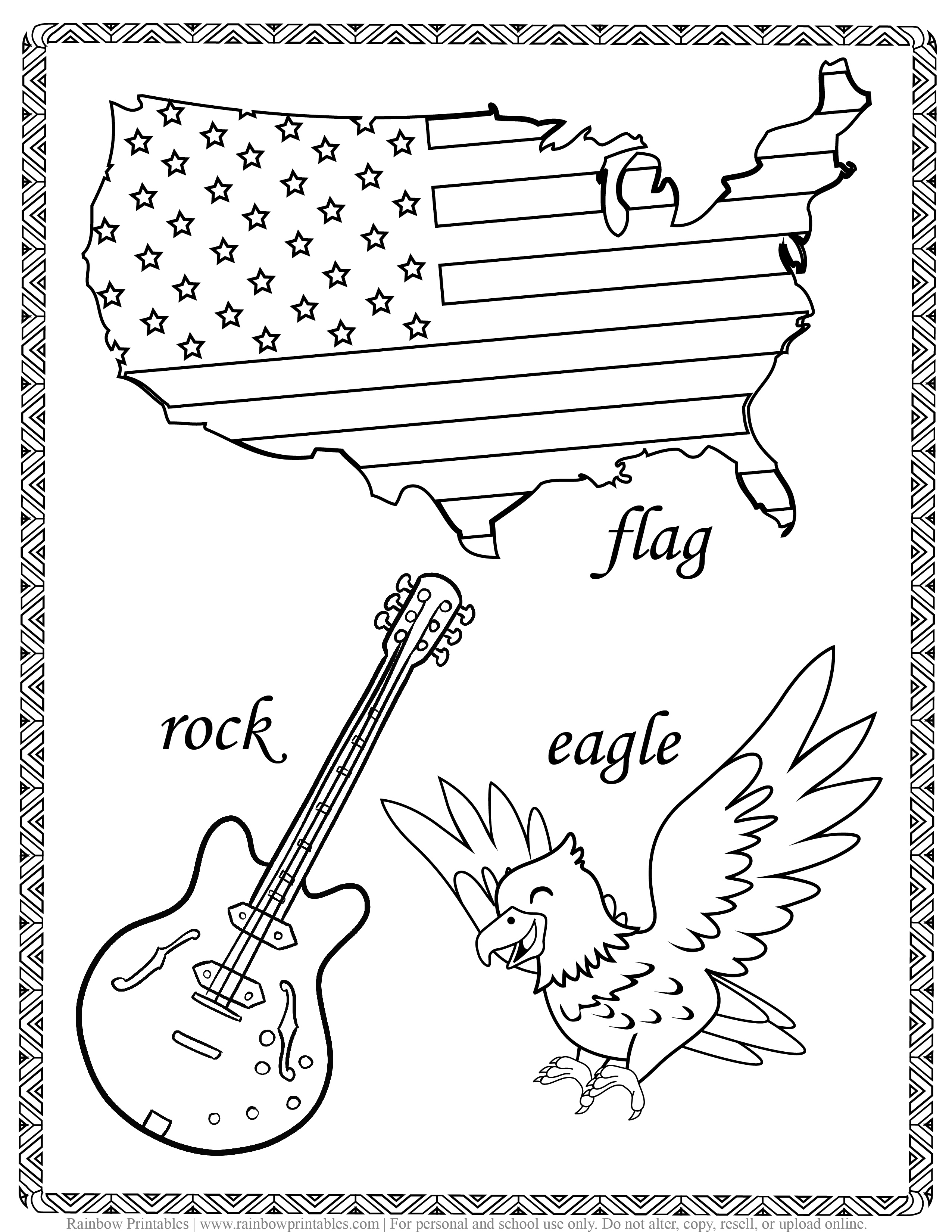 ROCK FLAG and EAGLE Sunny's Charlie Joke, America Patriotic July 4th Independence Day Printables for Kids, Toddlers, Coloring Pages, Activity for Preschool-12