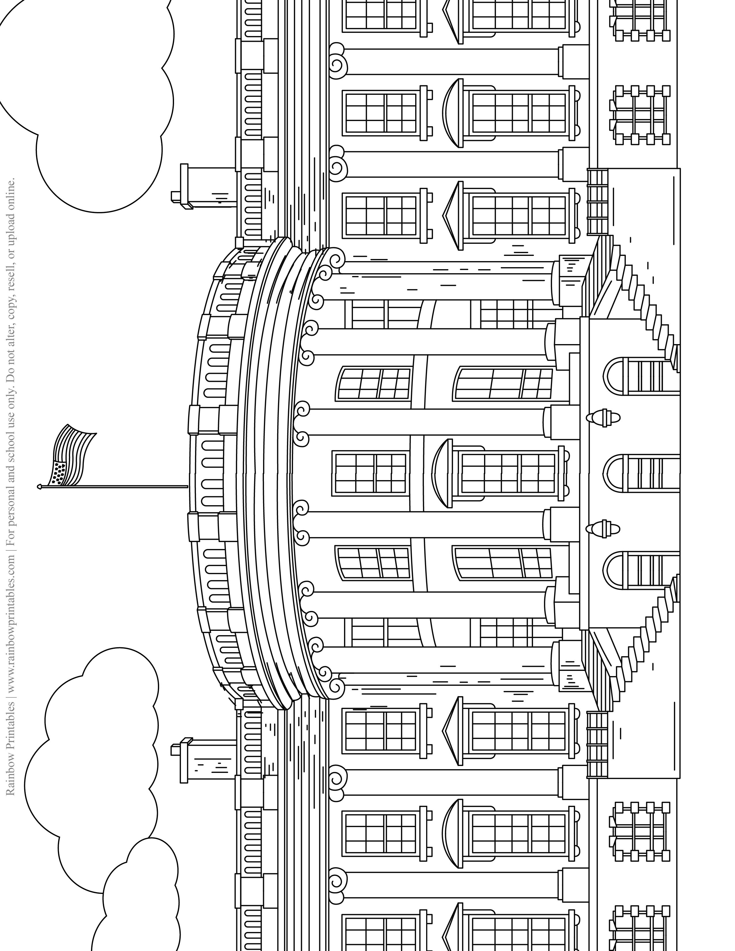 WHITE HOUSE Line Drawing Kids Patriotic July 4th Independence Day Printables for Children, Toddlers, America Coloring Pages, Activity for Preschool, Presidential Palace House