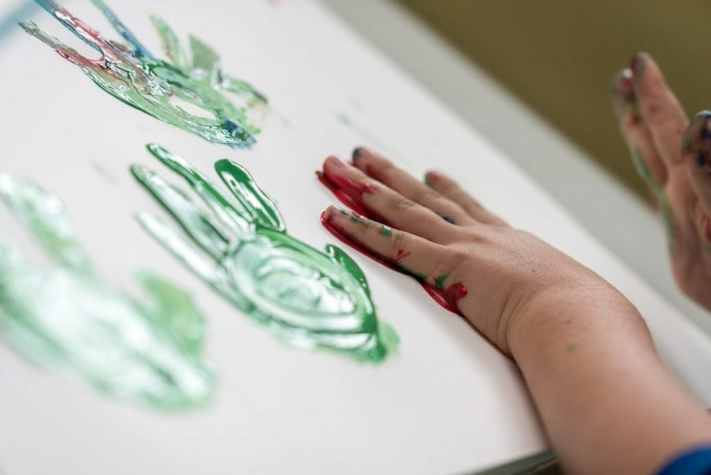 Little hands with paint