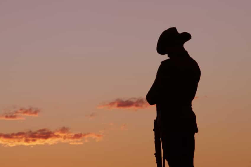 A soldier showing patriotism