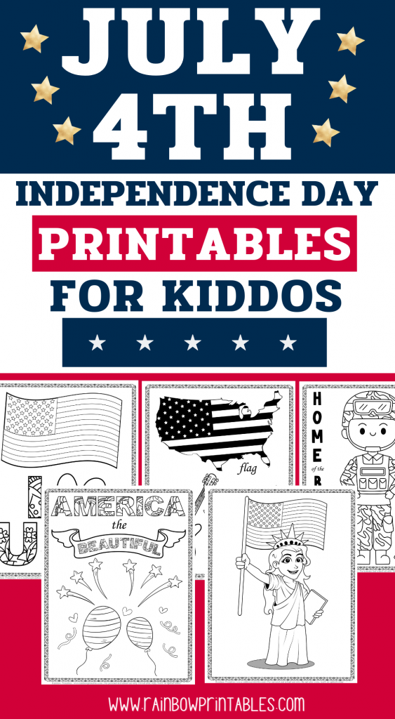 America The Beautiful Cute Coloring Page, Kids Patriotic July 4th Independence Day Printables for Children, Toddlers, Activity for Preschool, I Heart USA Landmarks